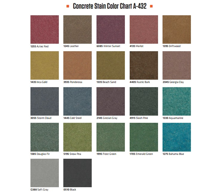 Stained Concrete Color Chart
